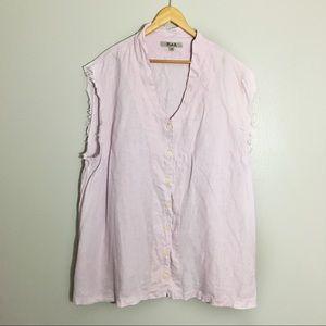 Flax Linen 3G Lilac Button Down Shirt Cutoff